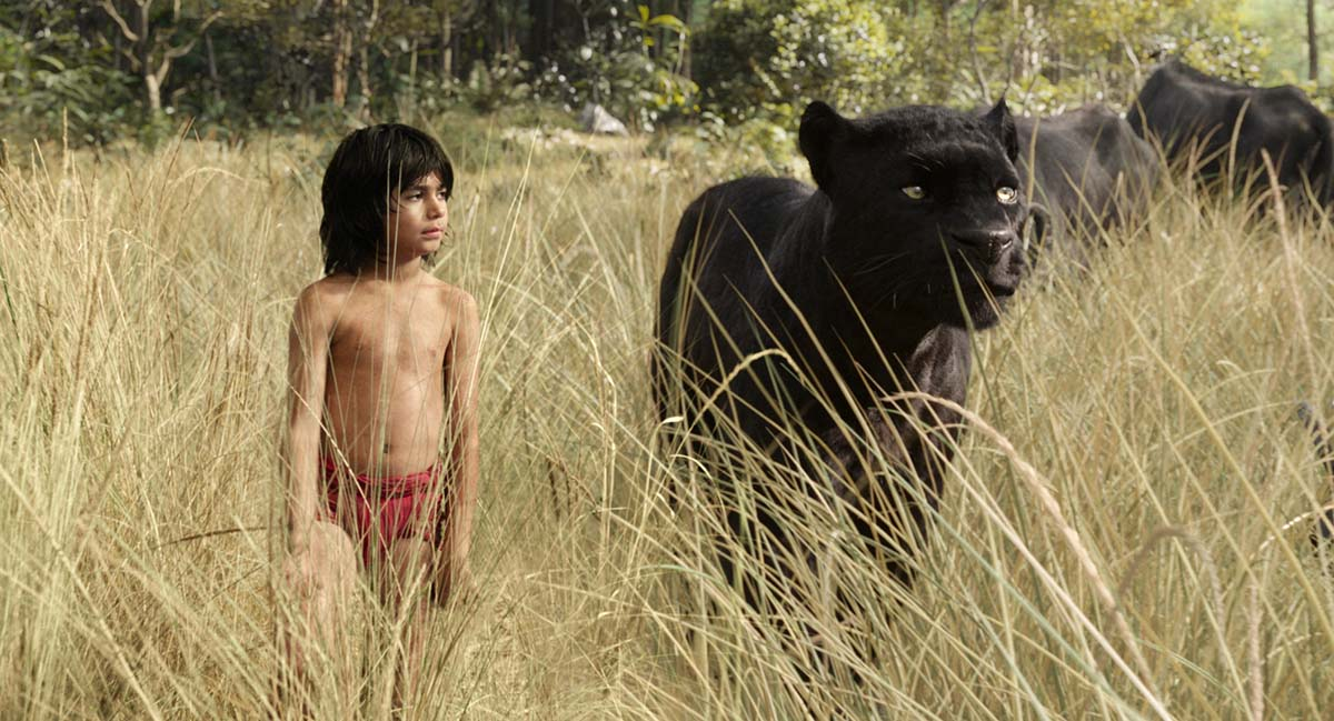 "Mowgli (newcomer Neel Sethi) and Bagheera (voice of Ben Kingsley) embark on a captivating journey in ""The Jungle Book,"" an all-new live-action epic adventure about Mowgli, a man-cub raised in the jungle by a family of wolves, who is forced to abandon the only home he's ever known. In theaters April 15, 2016. ..©2015 Disney Enterprises, Inc. All Rights Reserved."